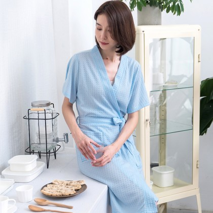 Women Thin Fiber Bath Robe with Two Pokcets