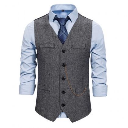 Men Evening Clothing Slim Waistcoat Vest Chain Suit