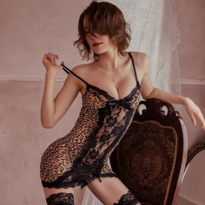 Sexy Lingerie Halter Strap Leopard Nightdress Suit