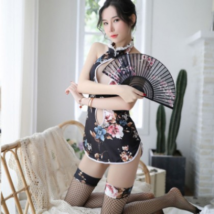 Sexy Uniform Floral Cheongsam Net Stockings Erotic Suit