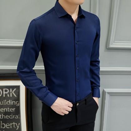 Men's Long Sleeve Plain Formal Shirt