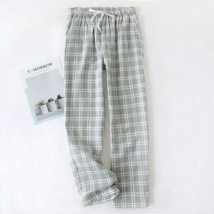 Men's Cotton Checkered Long Pajama Pants